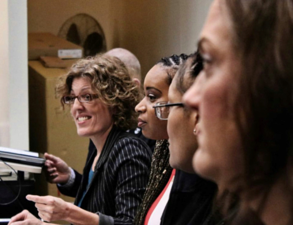 <strong>Stacy Rector, executive director of Tennesseans for Alternatives to the Death Penalty, and other panelists have a discussion at LeMoyne-Owen College on March 7, 2019.</strong> (Photo courtesy of Dedrick Miller/Just City)