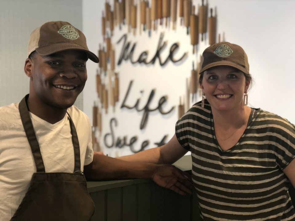 <strong>Lauren Young's Sweet Lala's Bakery will open in Regalia Thursday, and John Young from Young's bakery in the JIFF kitchen is working with her.</strong> (Jennifer Biggs/Daily Memphian)