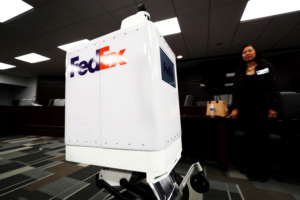 <strong>FedEx presented its SameDay Bot during a Memphis City Council executive session demonstration on Tuesday, March 19. Memphis will be the largest of several cities testing the autonomous delivery bots able to carry up to 100 pounds.</strong> (Houston Cofield/Daily Memphian)