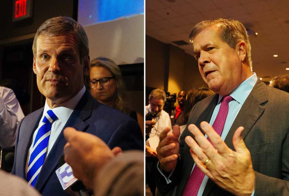 <strong>Republican gubernatorial candidate Bill Lee (left) and Democrat Karl Dean held their first debate Tuesday, Oct. 2, at the University of Memphis.</strong> (Ziggy Mack/Daily Memphian)