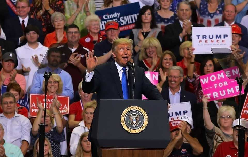 President Donald Trump defends his nomination for the Supreme Court, Brett Kavanaugh, at a campaign rally at the Landers Center in Southaven Tuesday night. (Patrick Lantrip/Daily Memphian)