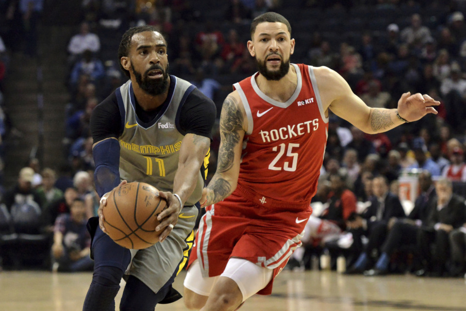 <span><strong>Memphis Grizzlies guard Mike Conley (11) handles the ball next to Houston Rockets guard Austin Rivers (25) during the first half of an NBA basketball game Wednesday, March 20, 2019, in Memphis, Tenn.</strong> (AP Photo/Brandon Dill)</span>