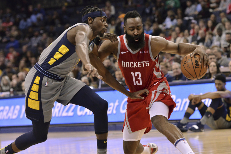 <span><strong>Houston Rockets guard James Harden (13) is defended by Memphis Grizzlies forward Justin Holiday during the second half of an NBA basketball game Wednesday, March 20, 2019, in Memphis, Tenn.</strong> (AP Photo/Brandon Dill)</span>