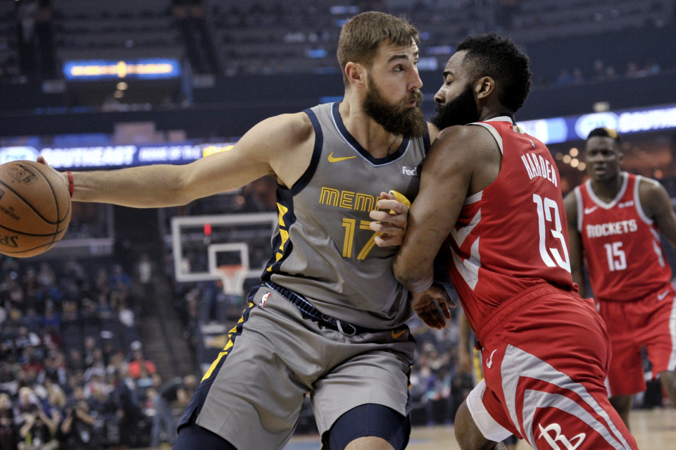 <span><strong>Memphis Grizzlies center Jonas Valanciunas (17) is defended by Houston Rockets guard James Harden (13) during the first half of an NBA basketball game Wednesday, March 20, 2019, in Memphis, Tenn.</strong> (AP Photo/Brandon Dill)</span>