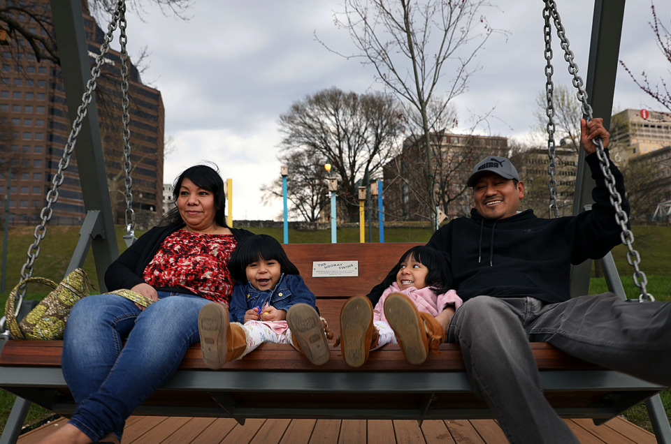 <strong>Vilma and Carlos Alegria and their two children Antonella and Danna visit the River Garden in Mississippi River Park. The park is in the focus area of Memphis Civic Commons. </strong>(Patrick Lantrip/Daily Memphian)