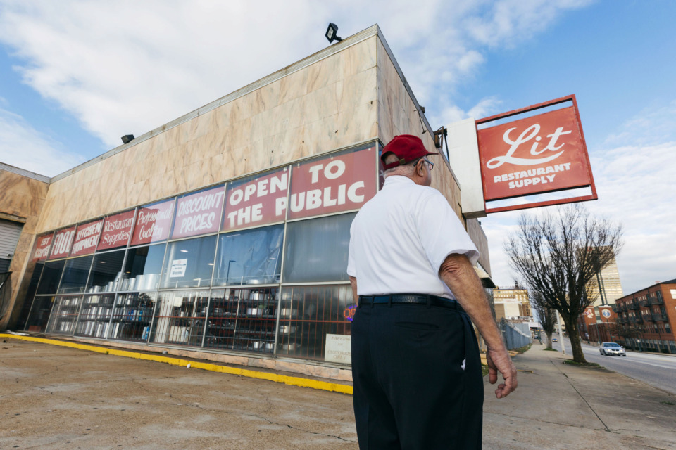 <strong>The previous owner of Lit Restaurant Supply, Lester Lit, standing outside his shop at 309 Union Ave. The building, which is 84 years old and 42,773 square feet, was purchased this month for $4.79 million by developers to make room for the big mixed-use development Union Row.</strong>(Ziggy Mack/Special to The Daily Memphian)