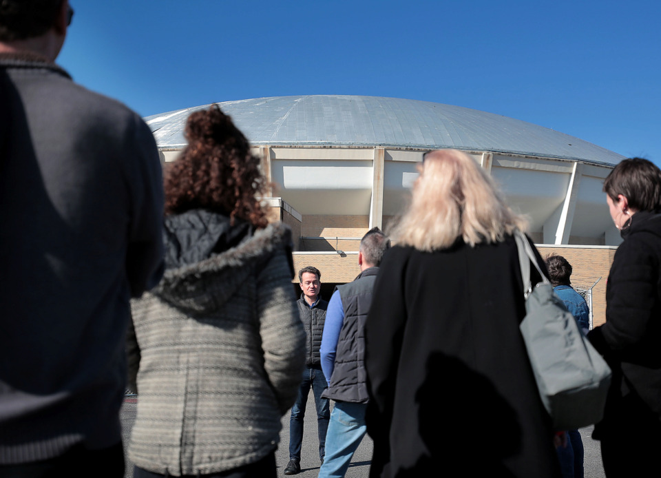 <strong>Marvin Stockwell with the Coliseum Coalition talks to a group of interested Memphians during a tour of the Mid-South Coliseum on March 22, 2019, conducted by the Coliseum Coalition to educate members of the public on the site's history, present condition and the possibilities of development in the future.</strong> (Jim Weber/Daily Memphian)