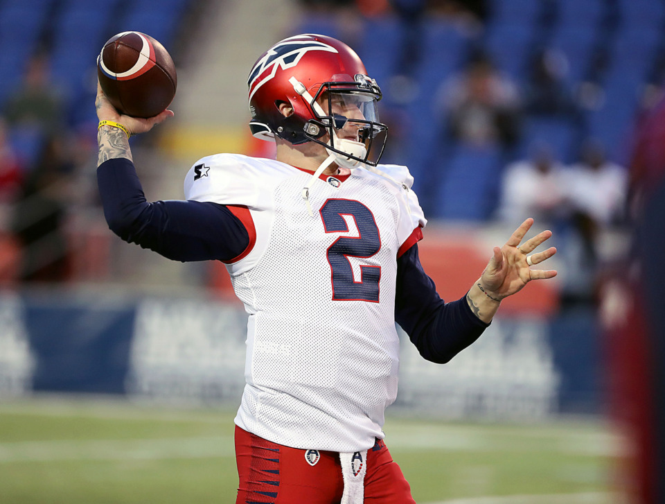 <strong>Johnny Manziel got his first action for the Memphis Express on Sunday, March 24, but was overshadowed by another quarterback.</strong> (Patrick Lantrip/Daily Memphian)