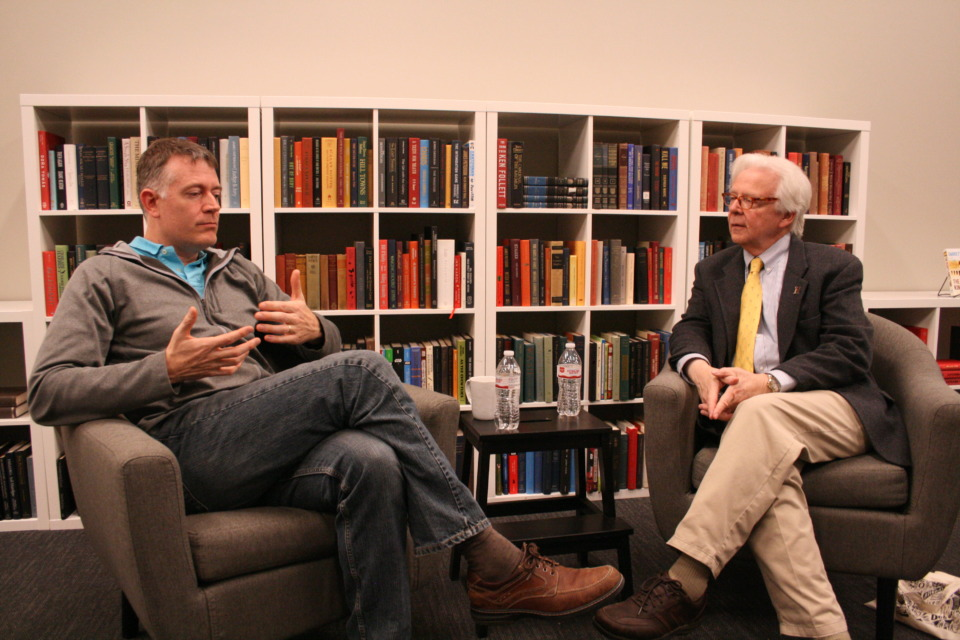 <strong>Author Garrett Drake, left, and Bill Short, the keeper of Rhodes College's Richard Halliburton collections, talked Monday at Novel bookstore about Drake's new historical novel that portrays Halliburton as a spy.</strong> (Bill Dries/Daily Memphian)