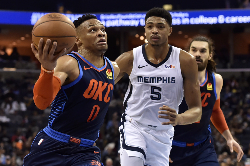 <span><strong>Oklahoma City Thunder guard Russell Westbrook (0) drives against Memphis Grizzlies forward Bruno Caboclo (5) Monday, March 25, 2019, in Memphis, Tenn.</strong> (AP Photo/Brandon Dill)</span>