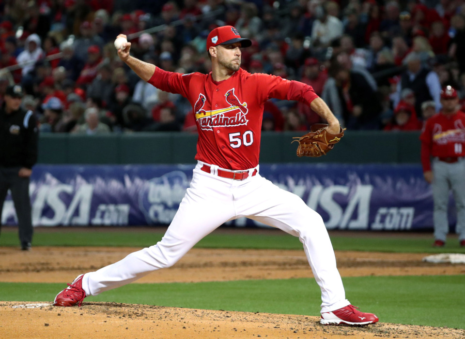 <strong>St. Louis Cardinals pitcher Adam Wainwright (50) throws the ball toward the plate during the Battle of the Birds game Monday, March 25, 2019, at AutoZone Park.</strong> (Houston Cofield/Daily Memphian)