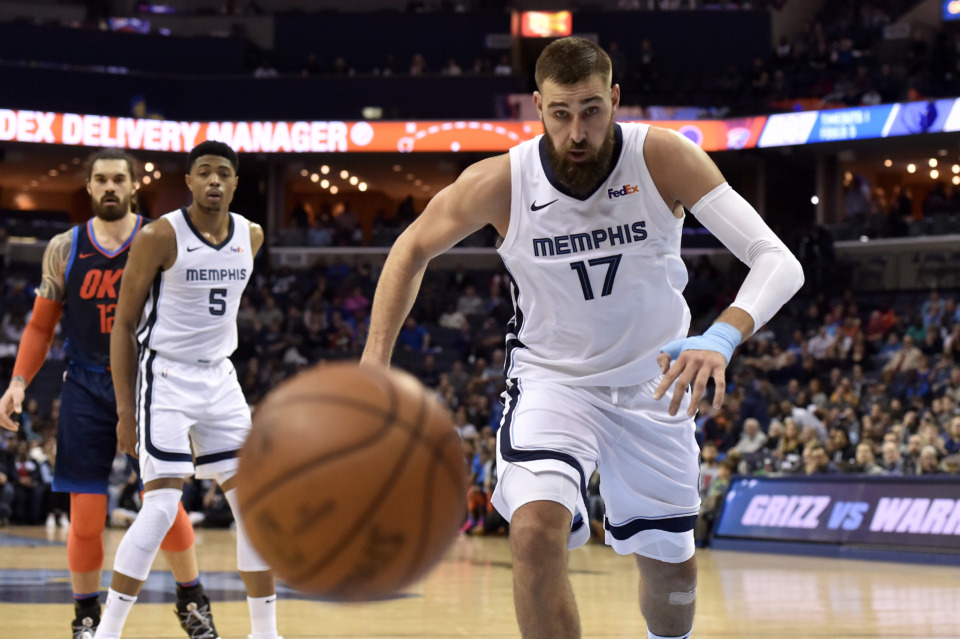 <span><strong>Memphis Grizzlies center Jonas Valanciunas (17) chases a loose ball in the second half of an NBA basketball game against the Oklahoma City Thunder Monday, March 25, 2019, in Memphis, Tenn.</strong> (AP Photo/Brandon Dill)</span>