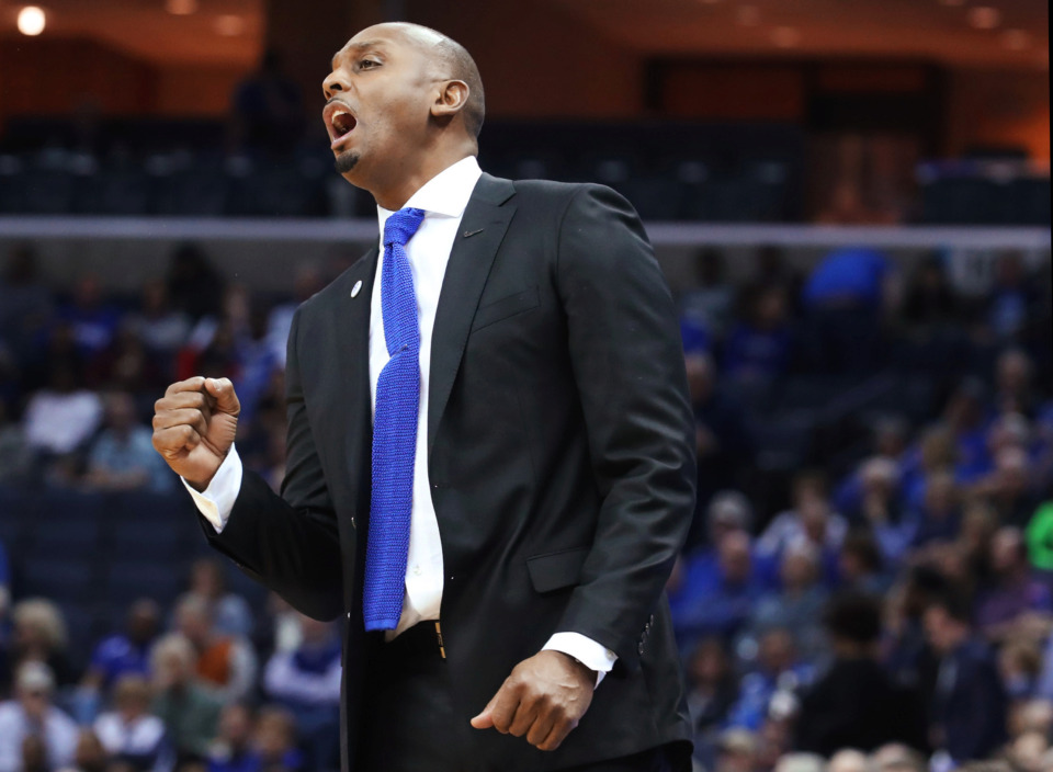 "<strong>Memphis Tigers coach Penny Hardaway reacts during a game against Tulsa on March 9, 2019, at FedExForum. With his first season behind him, Hardaway said Tuesday his hopes for a national championship at Memphis are ""more real.""</strong> (Karen Pulfer Focht/Special to The Daily Memphian)"