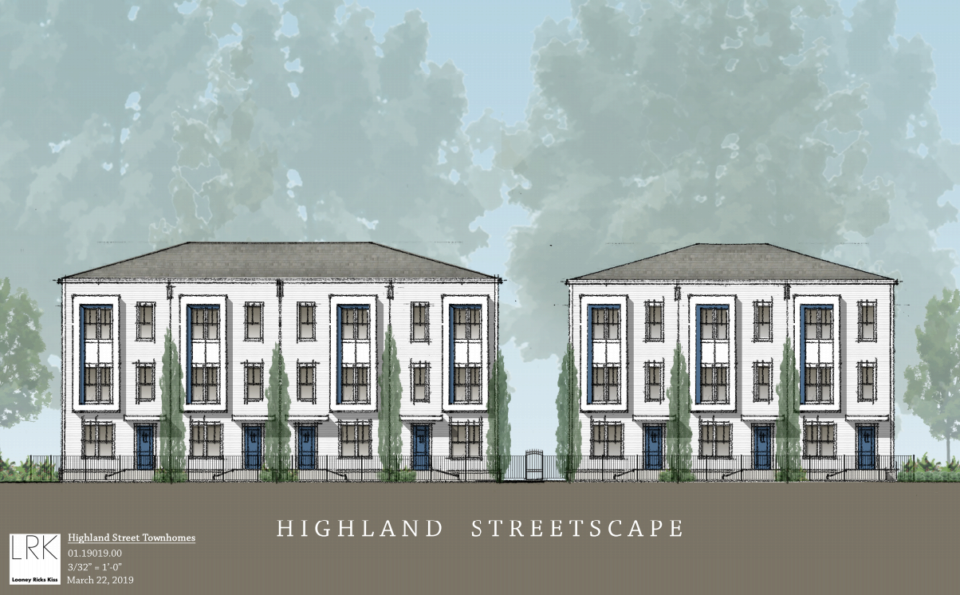 <strong>An artist's rendering of Highland Street Townhomes, a proposed multifamily development at South Highland and Spottswood.</strong> (Rendering courtesy of LRK)