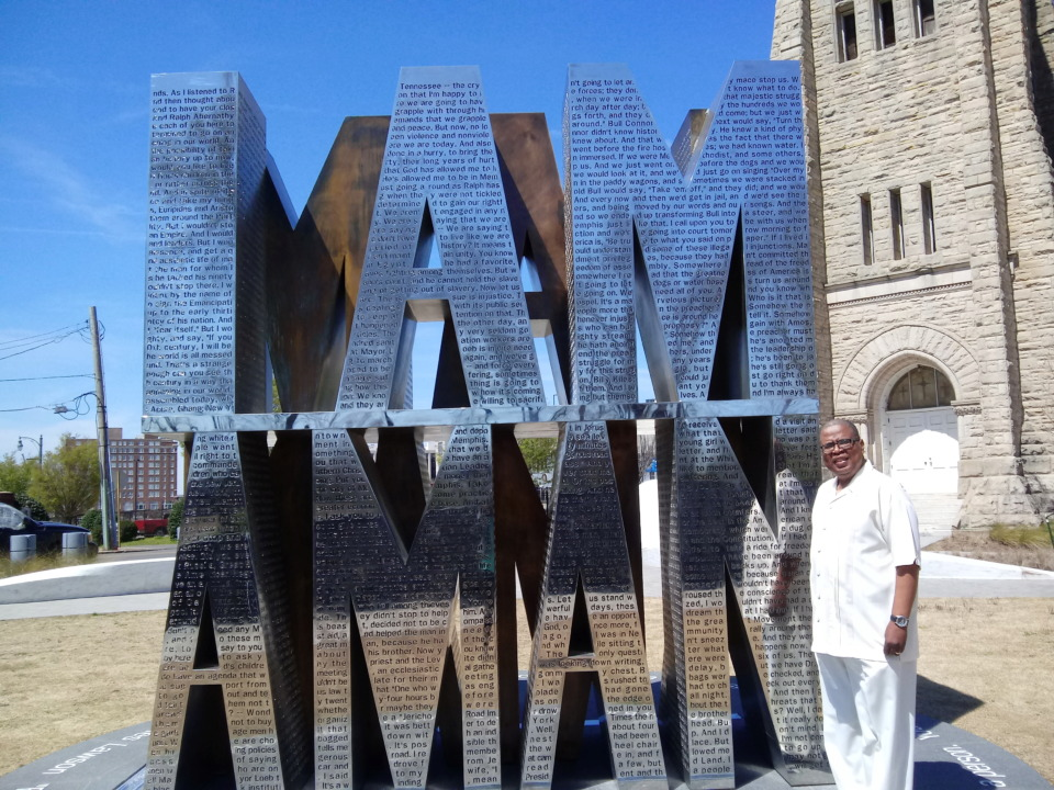 <strong>Johnnie Mosley visited the I Am A Man Plaza at Clayborn Temple. The site was dedicated on April 5, 2018, a day after the 50th anniversary of the assassination of Dr. Martin Luther King Jr.</strong> (Photo courtesy of Johnnie Mosley)