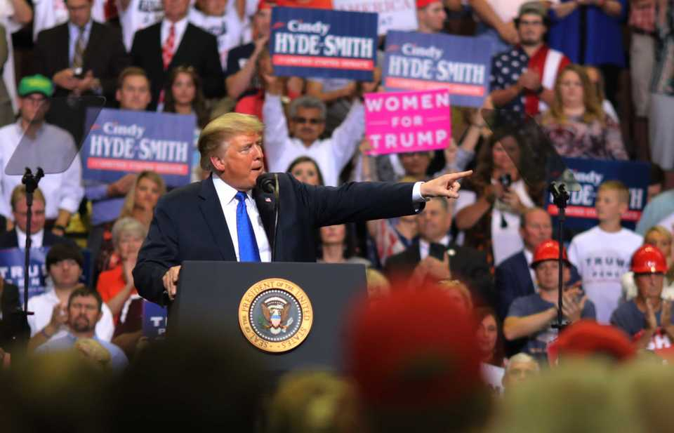 <span>President Donald Trump defends his nomination for the Supreme Court, Brett Kavanaugh, at a campaign rally at the Landers Center in Southaven Tuesday night. (Patrick Lantrip/Daily Memphian)</span>
