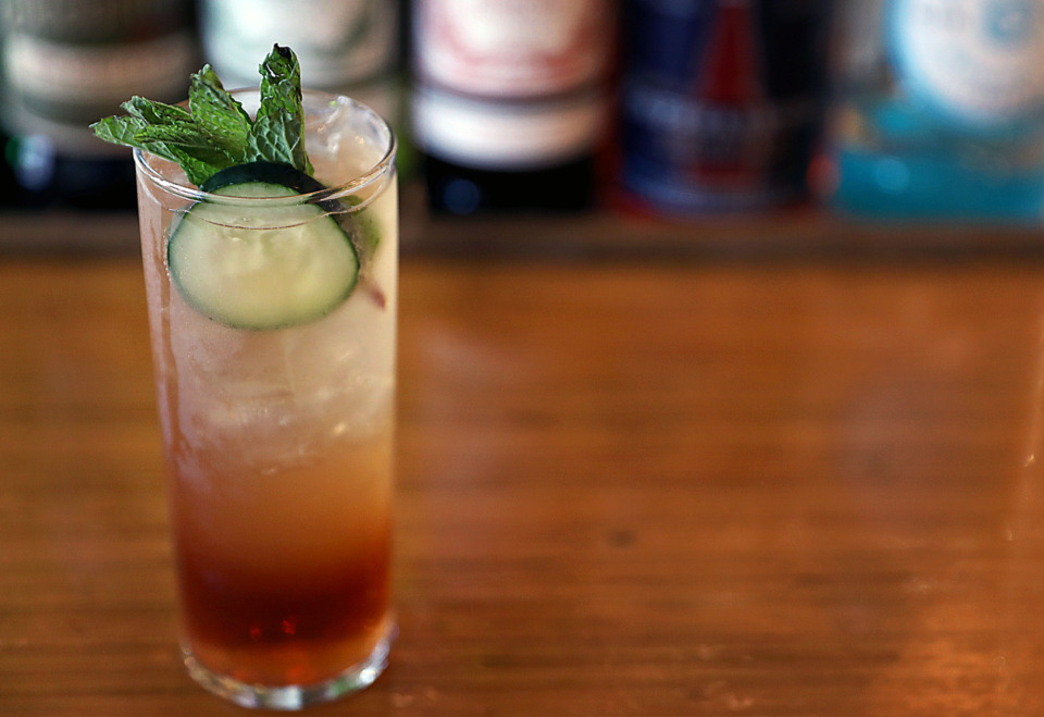 <strong>A house-made Pimm&rsquo;s Cup as made by Alchemy bartender Austin Moore.</strong> (Patrick Lantrip/Daily Memphian)