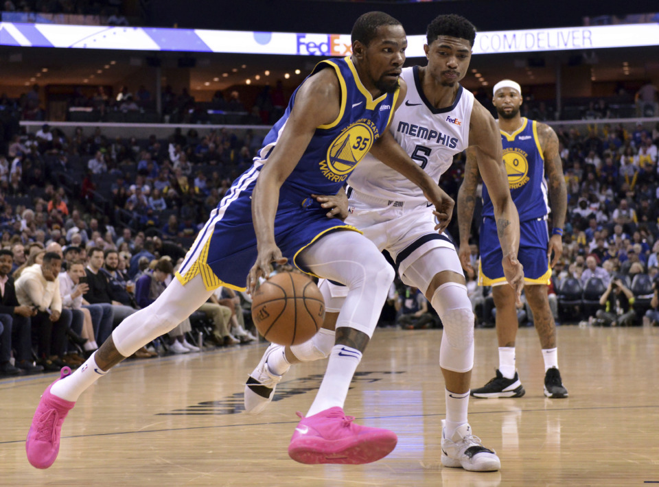<span><strong>Golden State Warriors forward Kevin Durant (35) drives against Memphis Grizzlies forward Bruno Caboclo (5) during the second half of an NBA basketball game Wednesday, March 27, 2019, in Memphis, Tenn.</strong> (AP Photo/Brandon Dill)</span>