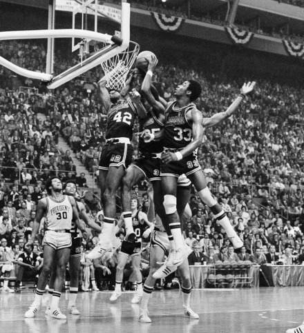 <strong>Memphis State University players Wes Westfall (42), Larry Kenon (35) and Ronnie Robinson (33) are hawking a rebound during their 98-85 win over Providence College in semi-final game of the 1973 NCAA championship in St. Louis. </strong>(AP Photo)