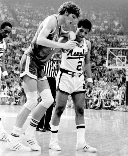 <strong>UCLA center Bill Walton is helped off the court by Memphis State University's Larry Finch after Walton was injured during the final game of the 1973 NCAA tournament in St. Louis.</strong> (AP Photo)