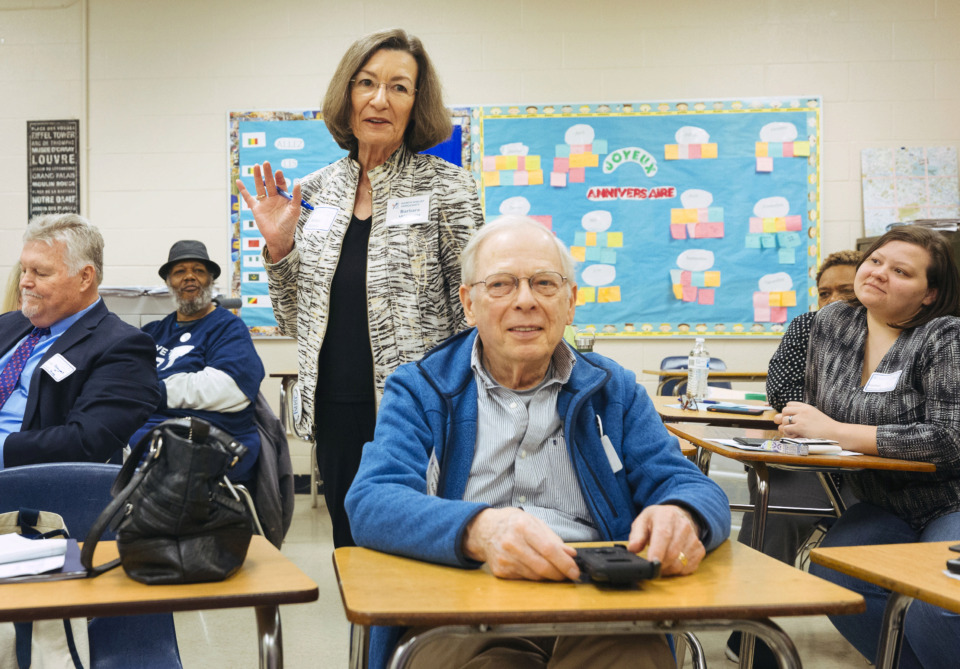 "<strong>Barbara Williams speaks during District 1 caucus at&nbsp;</strong><span class=""s1""><strong>the Shelby County Democratic biennial party convention at White Station High School on Saturday, March 30, 2019.</strong> (Ziggy Mack/Special to The Daily Memphian)</span>"