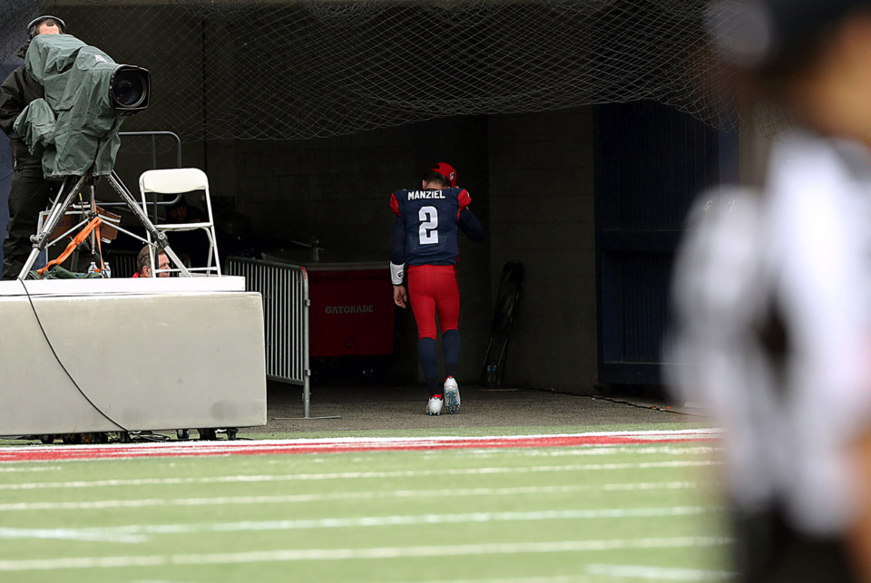 <strong>Memphis Express quarterback Johnny Manziel (2) left the game under his own power after a head injury in the first half of the Saturday, March 30, 2019, game against the Orlando Apollos.</strong> (Patrick Lantrip/Daily Memphian)