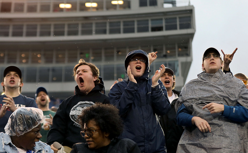 """<strong>Fans cheered on the Memphis Express despite the weather and some unfortunate calls at the end of&nbsp;</strong><span class=""""s1""""><strong>a Saturday, March 30, 2019, game against the Orlando Apollos at Liberty Bowl Stadium in Memphis.</strong> (Patrick Lantrip/Daily Memphian)</span>"""