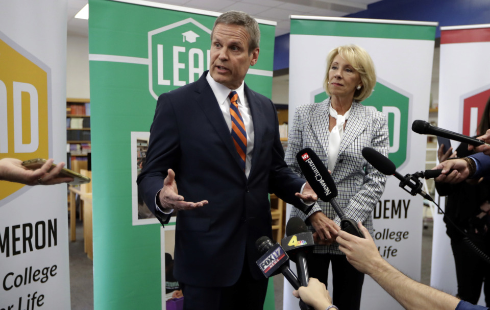 <strong>Tennessee Gov. Bill Lee and U.S. Education Secretary Betsy DeVos answer questions during a visit to Cameron Middle School Monday, April 1, 2019, in Nashville, Tenn. DeVos said she's encouraged by Tennessee's latest push to expand school vouchers throughout the state and said she's cheering on lawmakers to make the right choice.</strong> (AP Photo/Mark Humphrey)