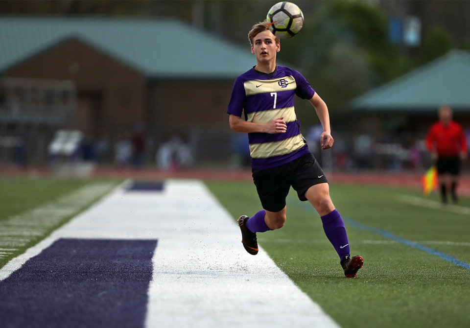 <strong>CBHS sophomore forward Taylor Gruber (7) hustles for a loose ball in a match against MUS on March 29, 2019. The Brothers took a preseason trip to Brazil and trained with coaches from some of the clubs there.</strong> (Patrick Lantrip/Daily Memphian)