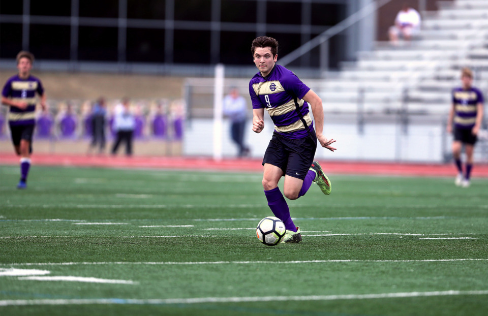 <strong>CBHS junior Evan Kleiser (9) goes on a fast break during a 1-0 victory over MUS on March 29, 2019. CBHS coach Nick Glaser says the team gained calmness and mental fortitude during a preseason trip to Brazil.</strong> (Patrick Lantrip/Daily Memphian)