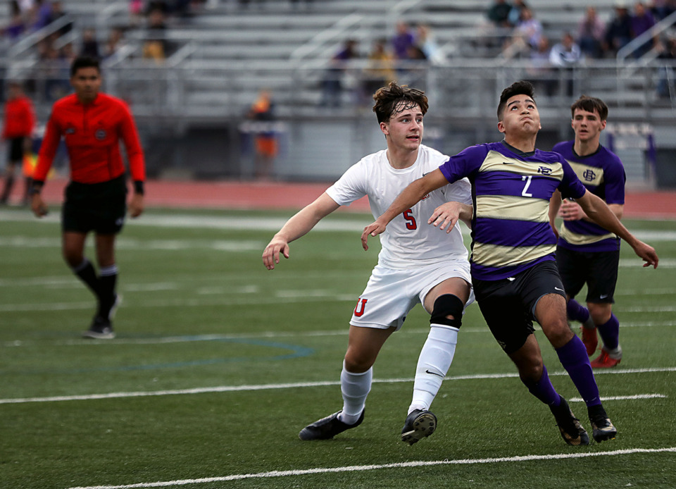 <strong>CBHS sophomore forward Max Ramirez (2) fights for position during a 1-0 victory over MUS March 29, 2019. The Brothers are taking a perfect record into this weekend's Southern Coast Cup.</strong>&nbsp;(Patrick Lantrip/Daily Memphian)
