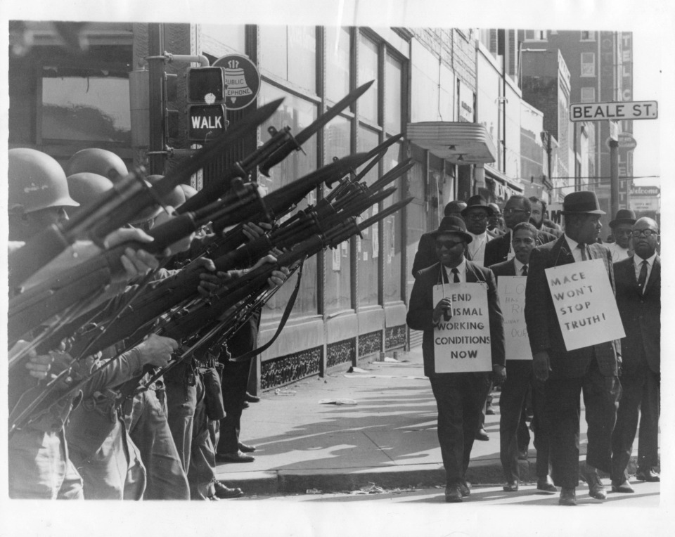 <span><strong>Legend has it the FBI sabotaged Martin Luther King Jr.'s&nbsp;last demonstration, a mass march down Beale Street that erupted in rioting and looting. A new book suggests civil rights photographer Ernest Withers of Memphis,&nbsp;an informant for the FBI, may have been compensated to disrupt King&rsquo;s march, a theory that appears to lack credible substantiation.</strong> (Courtesy of Preservation and Special Collections Department, University Libraries, University of Memphis &ndash; Press Scimitar collection)</span>