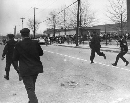 <strong>Tensions were high the morning of March 28, 1968, with police officers chasing children&nbsp;at Hamilton High School&nbsp;</strong><span><strong>prior to the riot that erupted out of Martin Luther King Jr.'s last demonstration. He was assassinated in Memphis one week later.</strong> (Courtesy of Preservation and Special Collections Department, University Libraries, University of Memphis &ndash; Press Scimitar collection)</span>