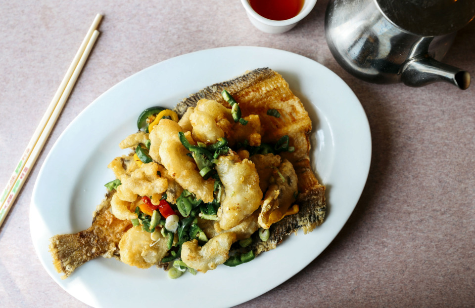 <strong>The saut&eacute;ed fillet of sole with spicy salt is a staple menu item at New Asia. The Asian restaurant offers a variety of dishes, all of which are authentic Chinese recipes.</strong> (Houston Cofield/Daily Memphian)