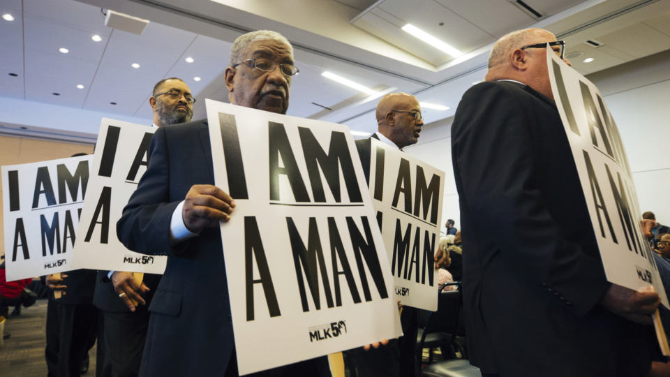 <strong>Members of Dr. Martin Luther King Jr.'s fraternity, Alpha Phi Alpha Inc., march during a ceremony April 4, 2019, at the National Civil Rights Museum to commemorate the anniversary of King&rsquo;s assassination in 1968.</strong> (Ziggy Mack/Special to The Daily Memphian)