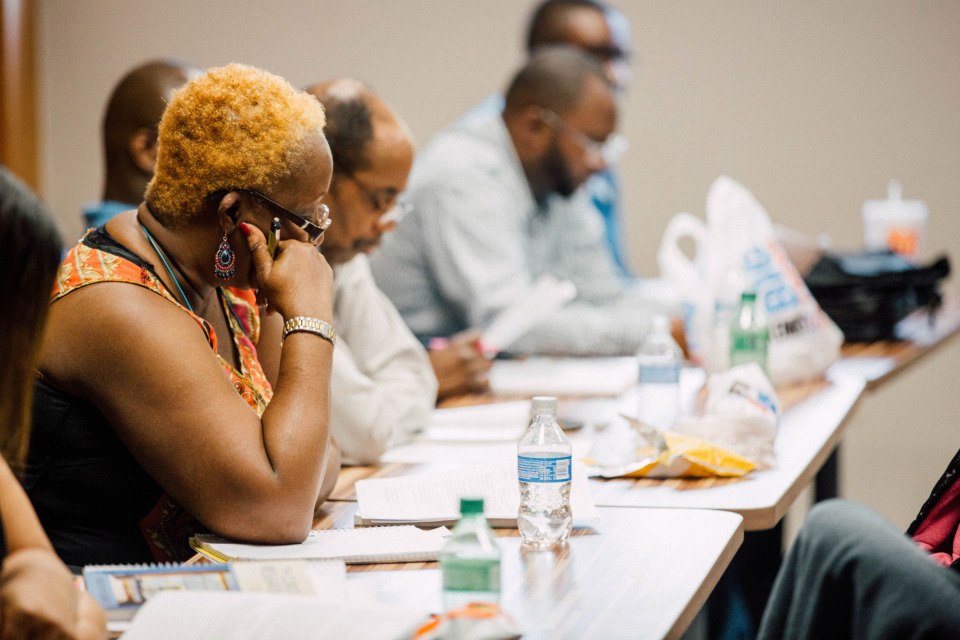 <strong>Lavera Jones listening in a class at the Memphis Center for Urban and Theological Studies (MCUTS) at Union&nbsp;Avenue Baptist Church. MCUTS will merge into Union University in August, and will become&nbsp;Memphis College of Urban and Theological Studies, an academic unit of Union University. The merger will help lower tuition costs for MCUTS' students, provide increased opportunities for scholarships and allow students access to Union University's resources. </strong>(Photo courtesy of MCUTS)