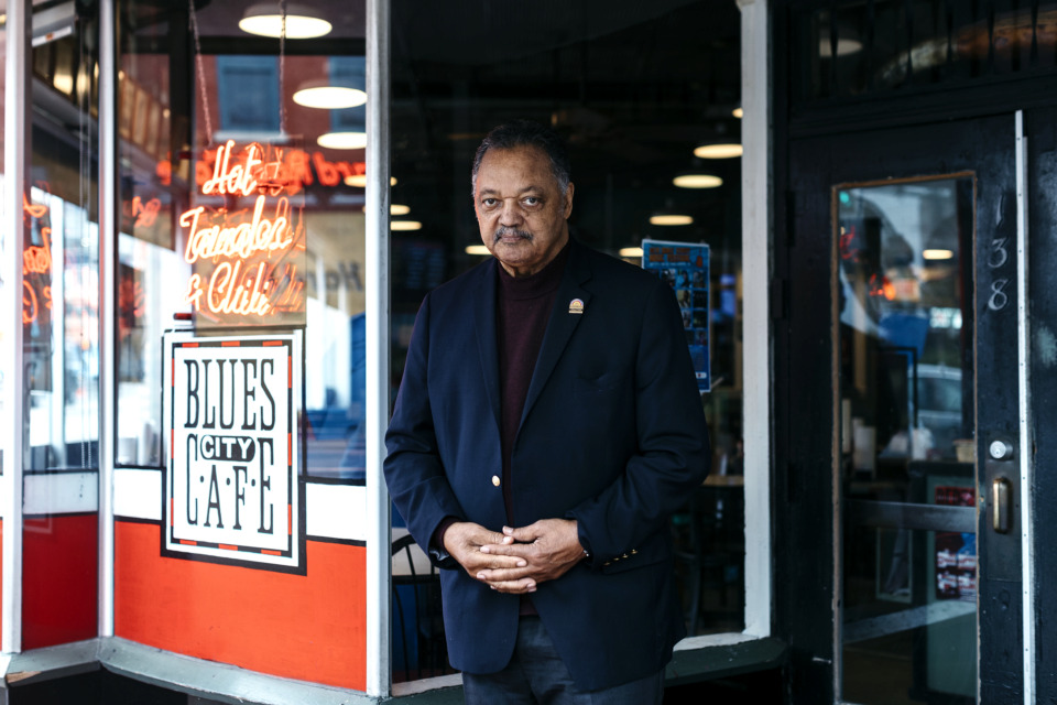 <strong>Rev. Jesse Jackson stands in front of Blues City Cafe while on a trip to Memphis to honor his late friend Dr. Martin Luther King, Jr.</strong> (Houston Cofield/Daily Memphian)