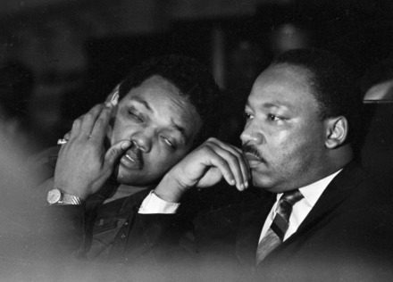 <strong>Dr. Martin Luther King, Jr. is seen here with Rev. Jesse Jackson (left) prior to his final public appearance to address striking Memphis sanitation workers on April 4, 1968. King was assassinated later that day outside his motel room.</strong> (AP file photo/Charles Kelly)