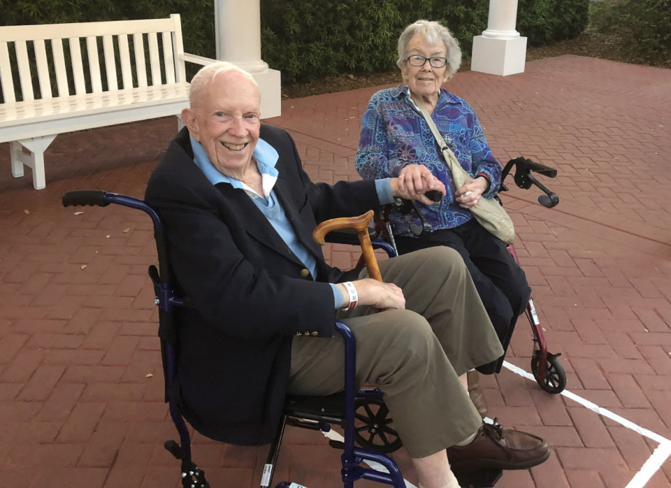 <strong>Side by side, as they have been for 72 years, Evan and Virginia Calkins shared a Disney adventure that not even a trip to the hospital would derail. </strong>(Geoff Calkins/Daily Memphian)