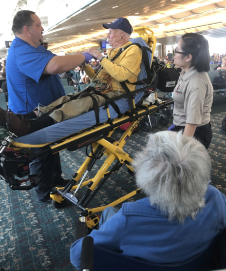 <strong>EMTs met Evan Calkins at the airport after he suffered what would be diagnosed as a minor stroke while en route from Buffalo, N.Y., to Orlando, Fla.</strong> (Geoff Calkins/Daily Memphian)