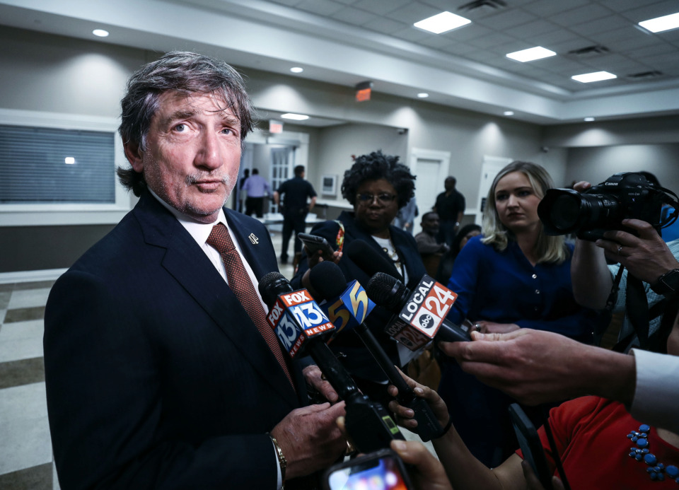 <strong>Latoshia Daniels' attorney, Leslie Ballin, speaks to media after filing a not guilty plea for Daniels in the Collierville courthouse on Tuesday, April 9, 2019. Daniels is charged in the shooting death of Mississippi Boulevard Christian Church executive pastor Brodes Perry on Thursday, April 4.</strong> (Houston Cofield/Daily Memphian)