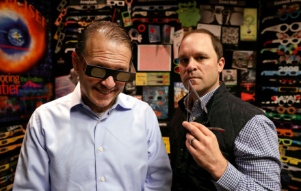 <strong>American Paper Optics president John Jerit (left) and director of sales and marketing Jason Lewin (right) hope to sell about 5 million solar glasses for the July 2 solar eclipse that is expected to draw 500,000 people to the narrow path where totality will occur.</strong> (Patrick Lantrip/Daily Memphian)