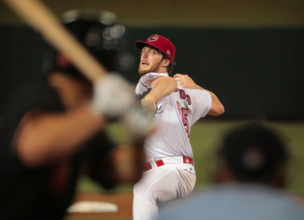 <strong>Jake Woodford winds up during game four of the Redbird's Pacific Coast League series against Fresno at Autozone Park on September 15, 2018.</strong> (Jim Weber/Daily Memphian file)