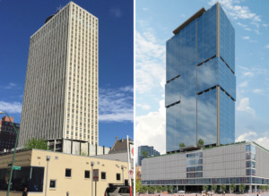 <strong>The 100 North Main building as it appears today (left), and an artist's rendering of the tower reskinned with glass and the northernmost 20 feet of the building lopped off. A modified 100 North Main is up against a new Loews on Civic Center Plaza as candidates for Memphis' second convention center hotel.</strong> (Photo by Wayne Risher/Daily Memphian; rendering courtesy of Michael Even ME Architect P.C.)