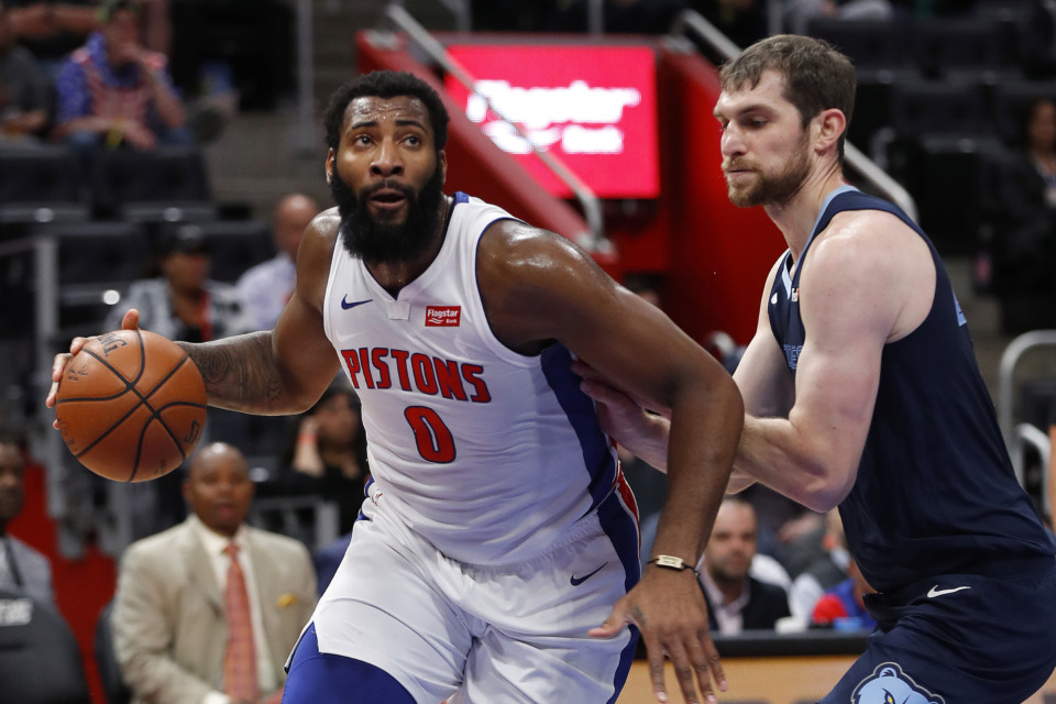 <span><strong>Detroit Pistons center Andre Drummond (0) drives on Memphis Grizzlies center Tyler Zeller (45) in the first half of an NBA basketball game in Detroit, Tuesday, April 9, 2019.</strong> (AP Photo/Paul Sancya)</span>
