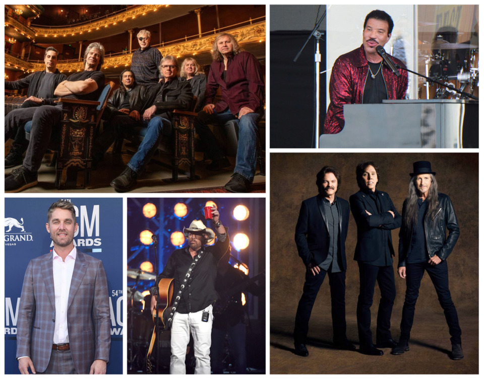 <strong>The 19th edition of Live at the Garden includes performances by Kansas (clockwise from top left), Lionel Richie, The Doobie Brothers, Toby Keith and Brett Young.</strong>