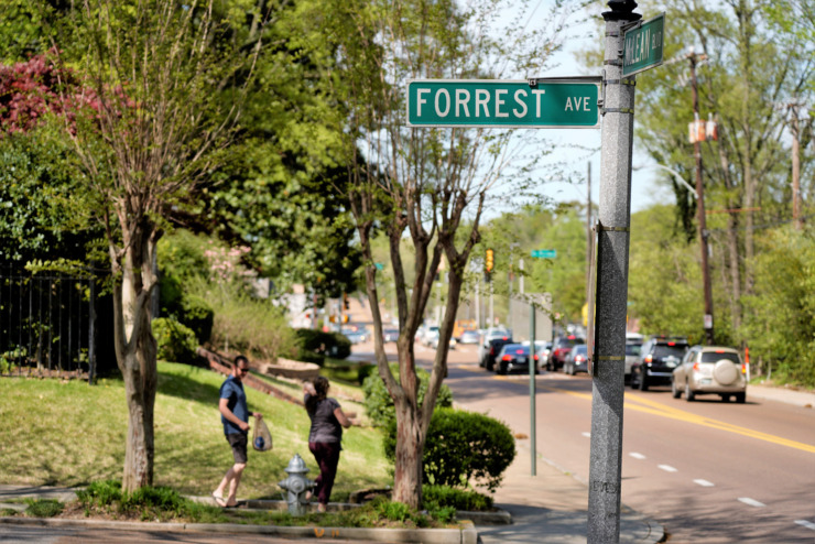 <span><strong>Parents approach Snowden School at Forrest and McLean on Wednesday, April 10, 2019, before the afternoon dismissal bell rings.</strong> (Tom Bailey/Daily Memphian)</span>
