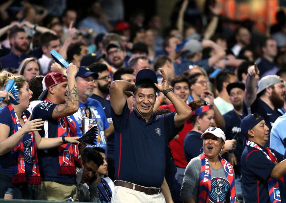 <strong>Memphis 901 FC fans react to one of the many missed goal opportunities to tie up the match against Atlanta United 2 on Wednesday, April 10, 2019.</strong> (Houston Cofield/Daily Memphian)