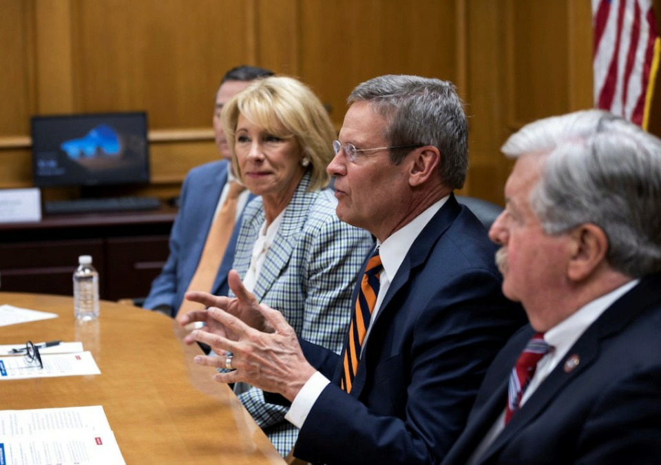 <strong>Gov. Bill Lee speaks about school choice during an April 1 roundtable discussion with U.S. education secretary Betsy DeVos.</strong> (Photo courtesy of TN.gov)