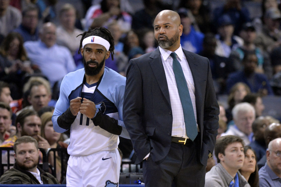 <span><strong>Memphis Grizzlies guard Mike Conley (11) talks with head coach J.B. Bickerstaff in the first half of an NBA basketball game against the Los Angeles Clippers Wednesday, Dec. 5, 2018, in Memphis, Tenn.</strong> (AP Photo/Brandon Dill)</span>